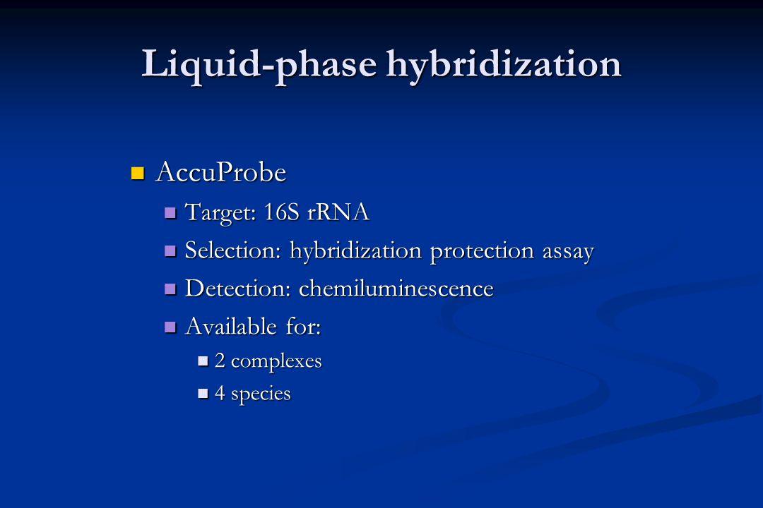 DNA probes Liquid-phase hybridization Liquid-phase hybridization Solid-phase reverse hybridization Solid-phase reverse hybridization