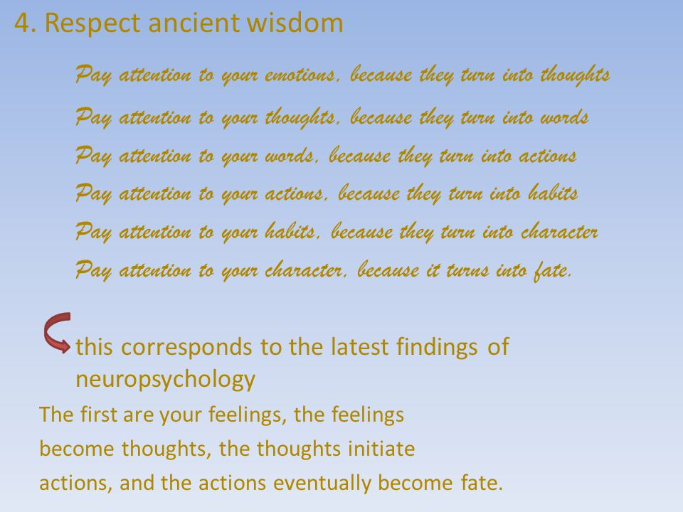 4. Respect ancient wisdom Pay attention to your emotions, because they turn into thoughts Pay attention to your thoughts, because they turn into words