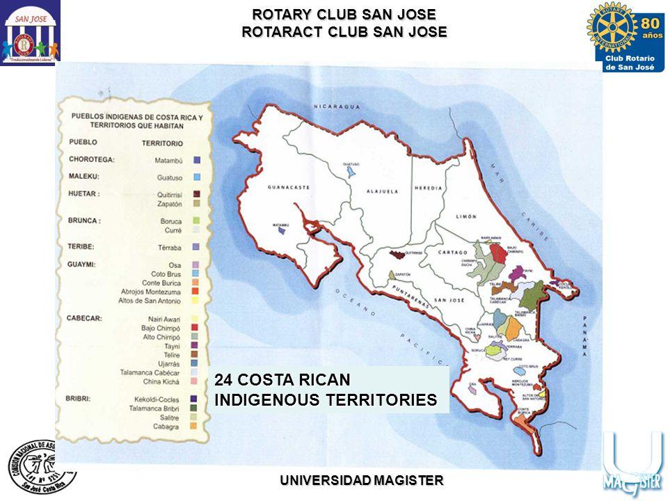 ROTARY CLUB SAN JOSE ROTARACT CLUB SAN JOSE WITH THE SUPPORT OF COMISION NACIONAL DE ASUNTOS INDIGENAS UNIVERSIDAD MAGISTER 24 COSTA RICAN INDIGENOUS TERRITORIES