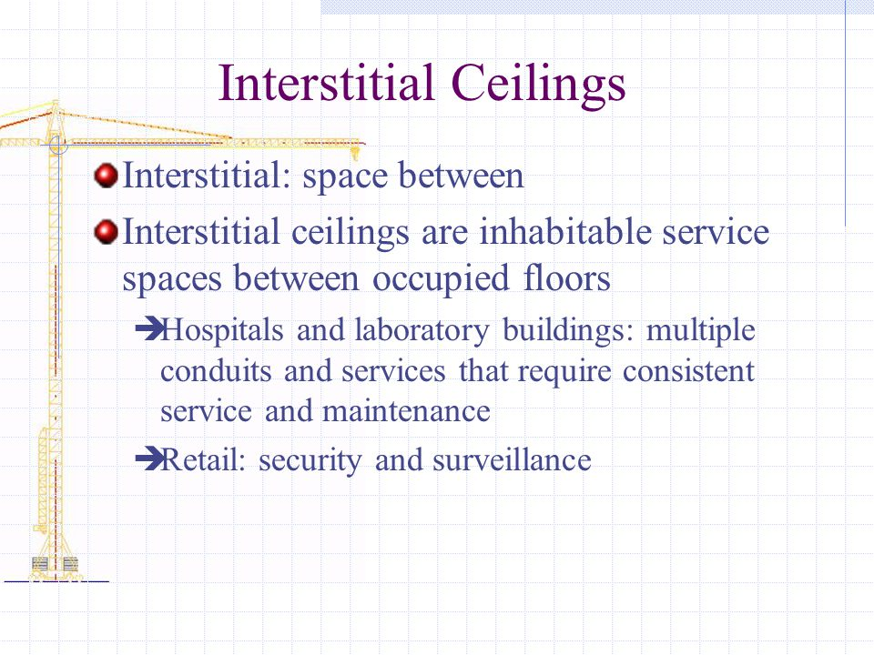 Interstitial Ceilings Interstitial: space between Interstitial ceilings are inhabitable service spaces between occupied floors Hospitals and laboratory buildings: multiple conduits and services that require consistent service and maintenance Retail: security and surveillance