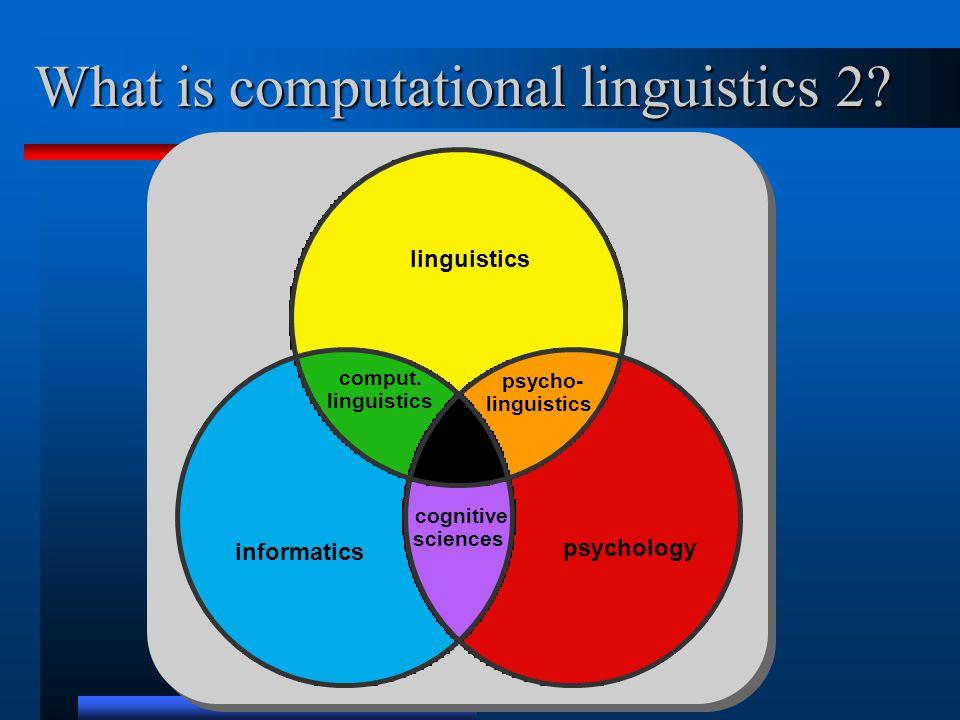 What is computational linguistics 2. psychology linguistics informatics psycho- linguistics comput.