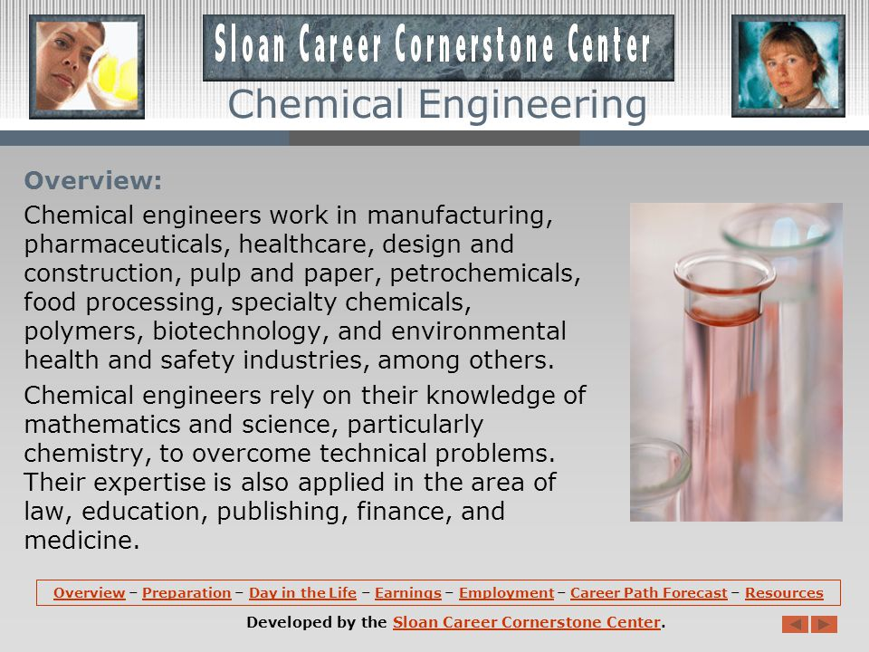 OverviewOverview – Preparation – Day in the Life – Earnings – Employment – Career Path Forecast – ResourcesPreparationDay in the LifeEarningsEmploymentCareer Path ForecastResources Developed by the Sloan Career Cornerstone Center.Sloan Career Cornerstone Center Chemical Engineering