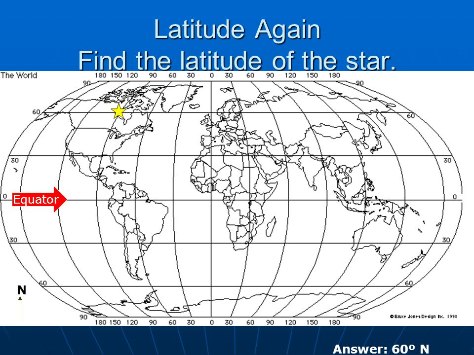 Latitude Again Find the latitude of the star. N Equator Answer: 60º N