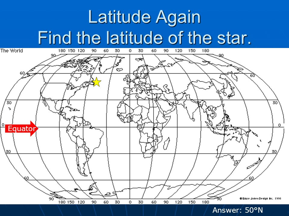Latitude Again Find the latitude of the star. Equator Answer: 50°N