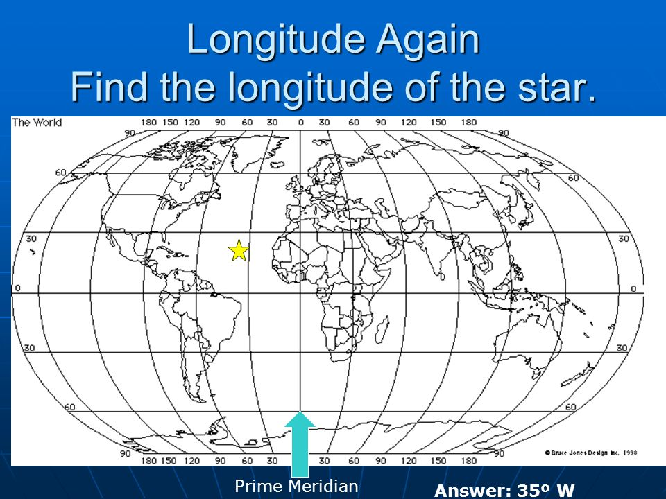 Longitude Again Find the longitude of the star. Prime Meridian Answer: 35º W