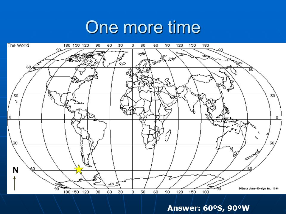 One more time N Answer: 60ºS, 90ºW