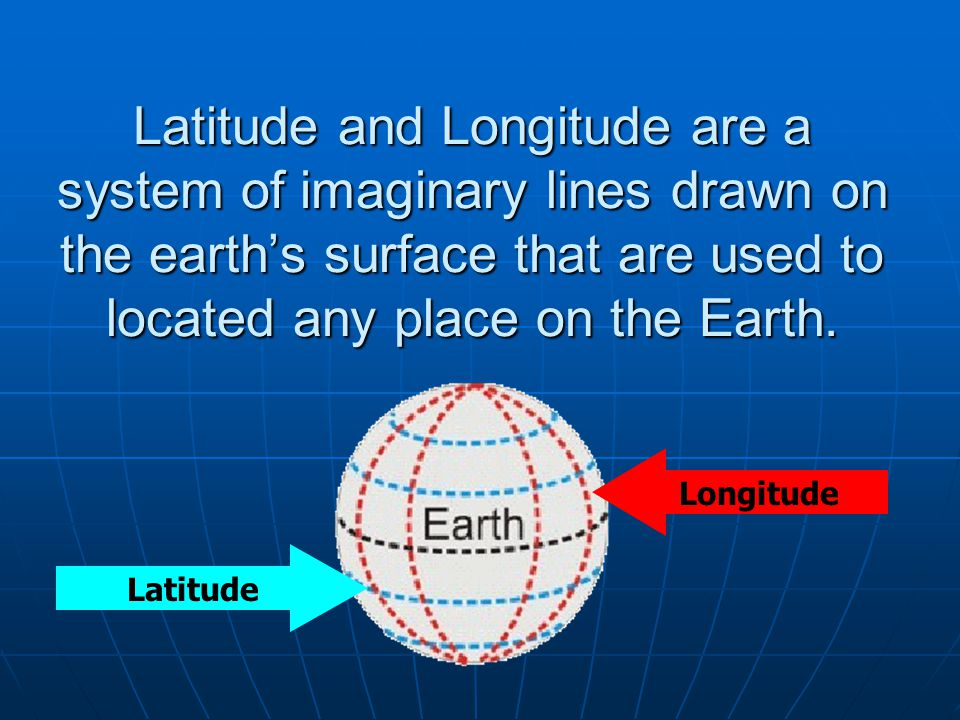 Latitude and Longitude are a system of imaginary lines drawn on the earths surface that are used to located any place on the Earth. Longitude Latitude