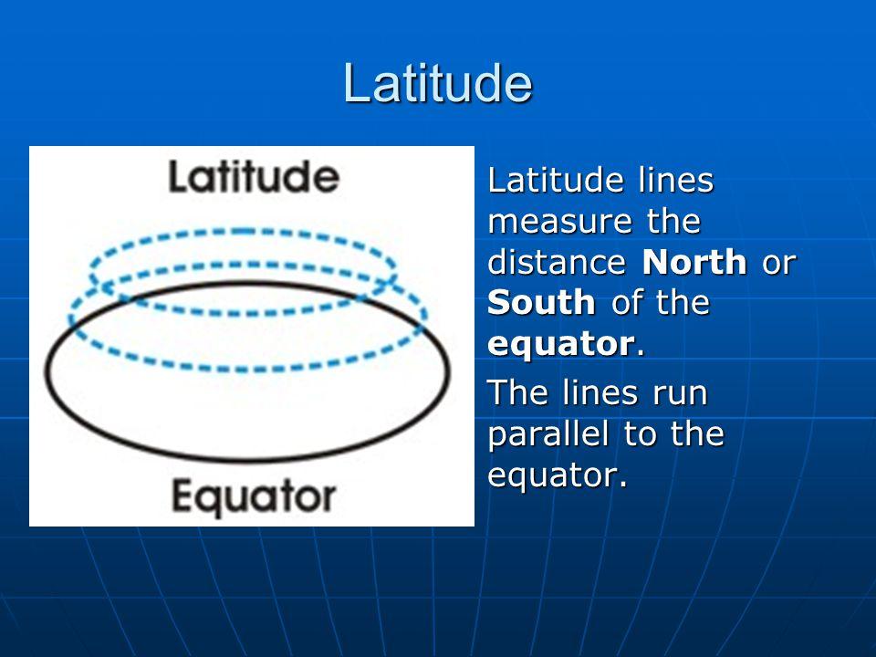 Latitude Latitude lines measure the distance North or South of the equator. Latitude lines measure the distance North or South of the equator. The lin