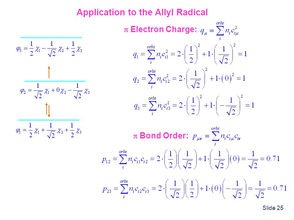 Slide 25 Application to the Allyl Radical Bond Order: Electron Charge: