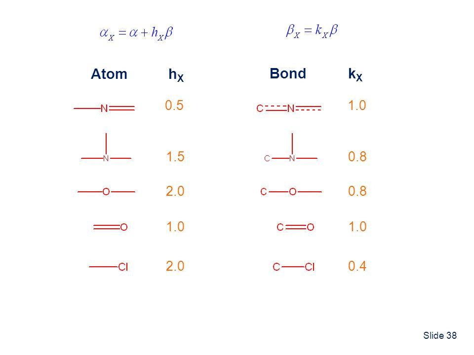 Slide 38 AtomhXhX 0.5 1.5 2.0 1.0 2.0 BondkXkX 1.0 0.8 1.0 0.4