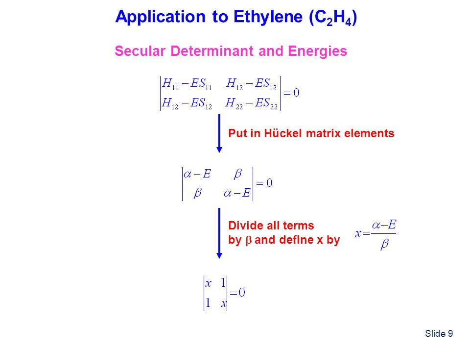Slide 9 Application to Ethylene (C 2 H 4 ) Secular Determinant and Energies Put in Hückel matrix elements Divide all terms by and define x by