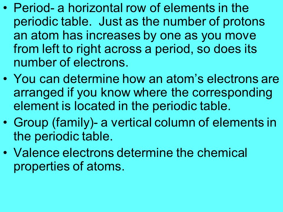 Atoms of elements in the same group, or column, have the same number of valence electrons, so these elements have similar properties.