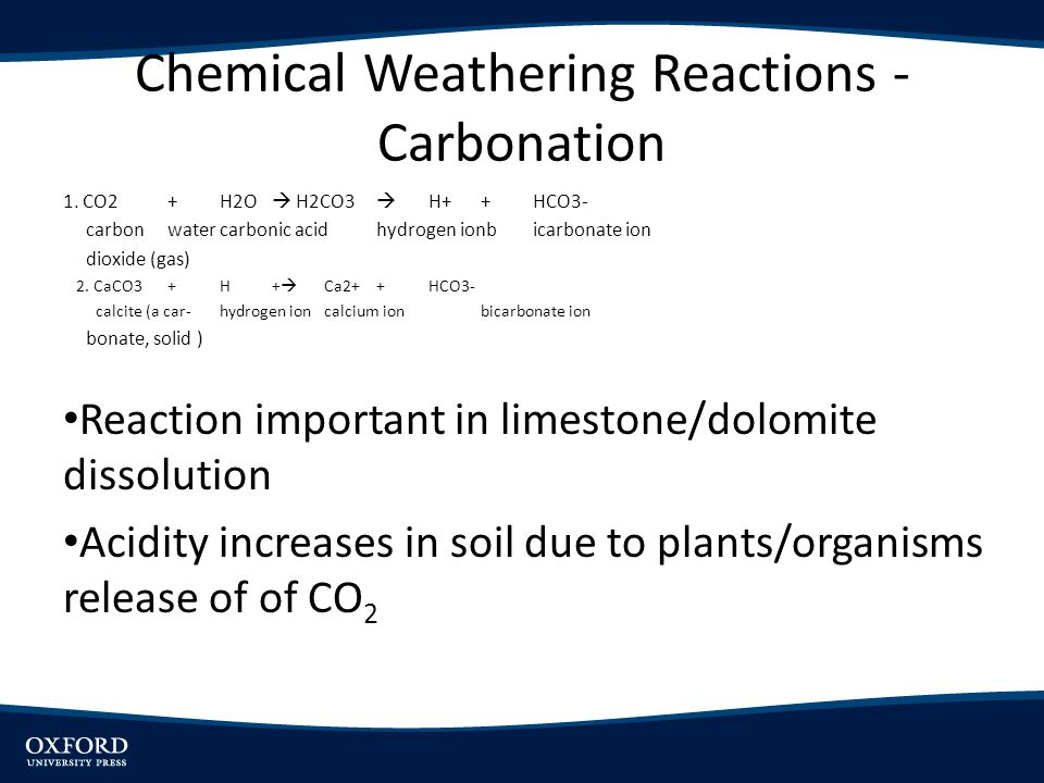 Chemical Weathering Reactions - Carbonation 1. CO2+H2O H2CO3 H+ +HCO3- carbonwatercarbonic acidhydrogen ionbicarbonate ion dioxide (gas) 2. CaCO3+H+ C