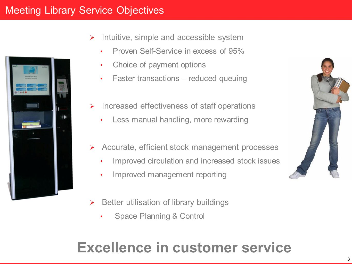 Meeting Library Service Objectives 3 Intuitive, simple and accessible system Proven Self-Service in excess of 95% Choice of payment options Faster tra