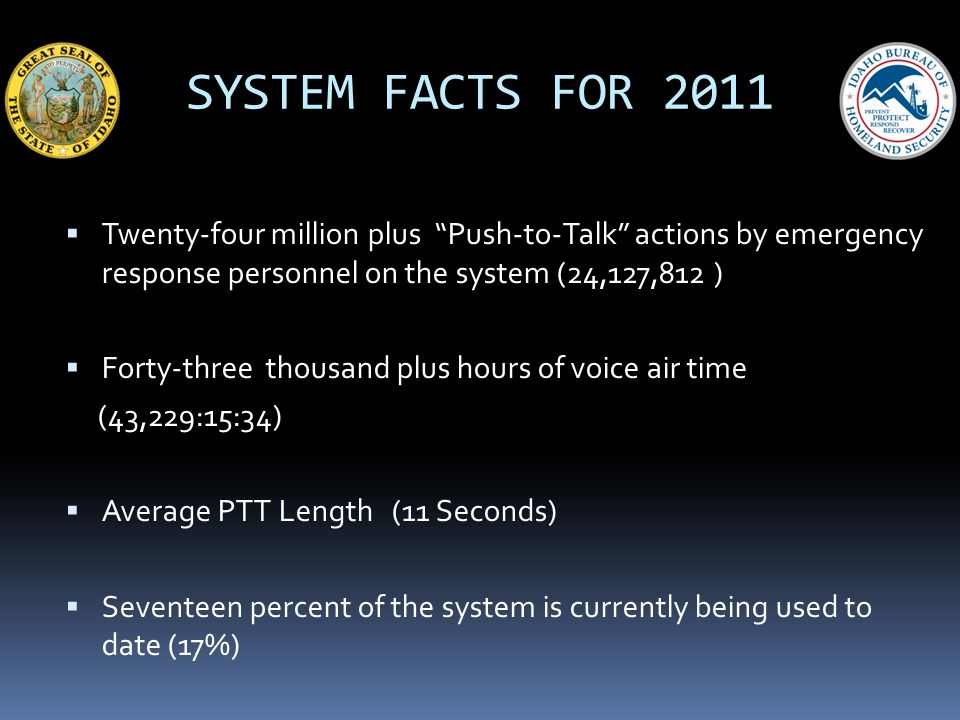 SYSTEM FACTS FOR 2011 Twenty-four million plus Push-to-Talk actions by emergency response personnel on the system (24,127,812 ) Forty-three thousand p