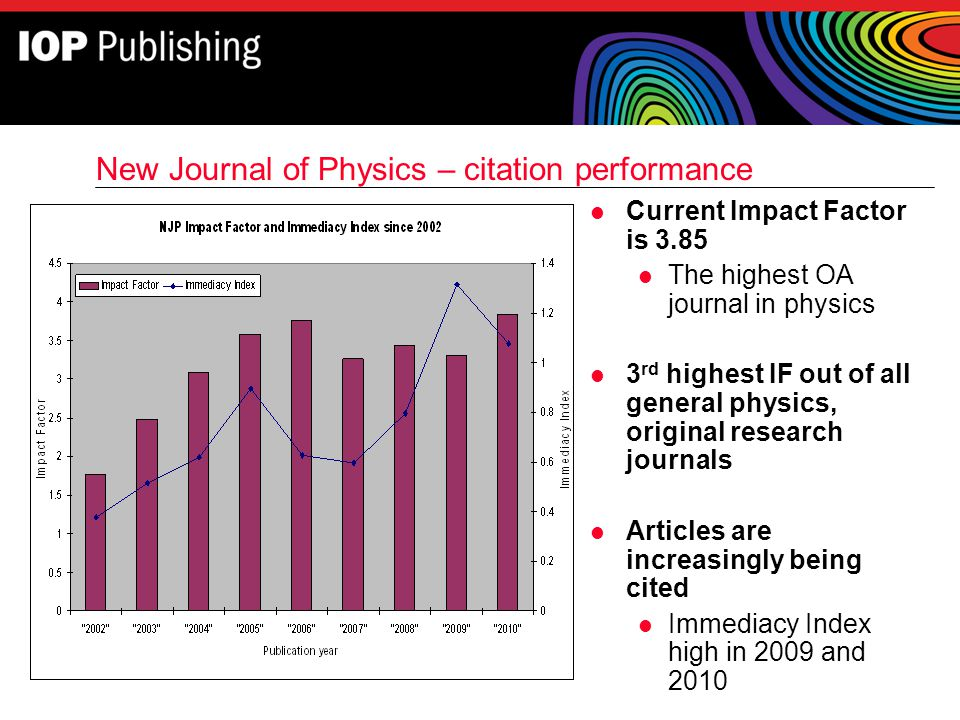 New Journal of Physics – citation performance l Current Impact Factor is 3.85 l The highest OA journal in physics l 3 rd highest IF out of all general