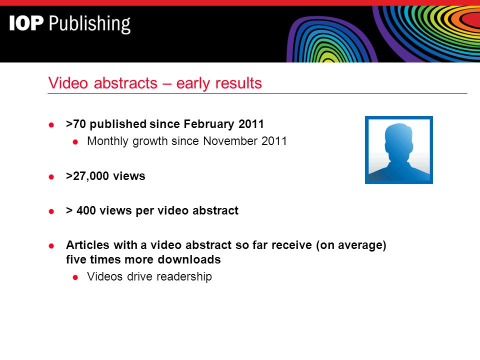 Video abstracts – early results l >70 published since February 2011 l Monthly growth since November 2011 l >27,000 views l > 400 views per video abstr