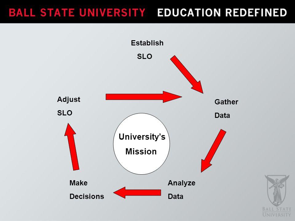 Establish SLO Gather Data Analyze Data Make Decisions Adjust SLO Universitys Mission