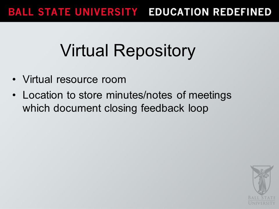 Virtual Repository Virtual resource room Location to store minutes/notes of meetings which document closing feedback loop