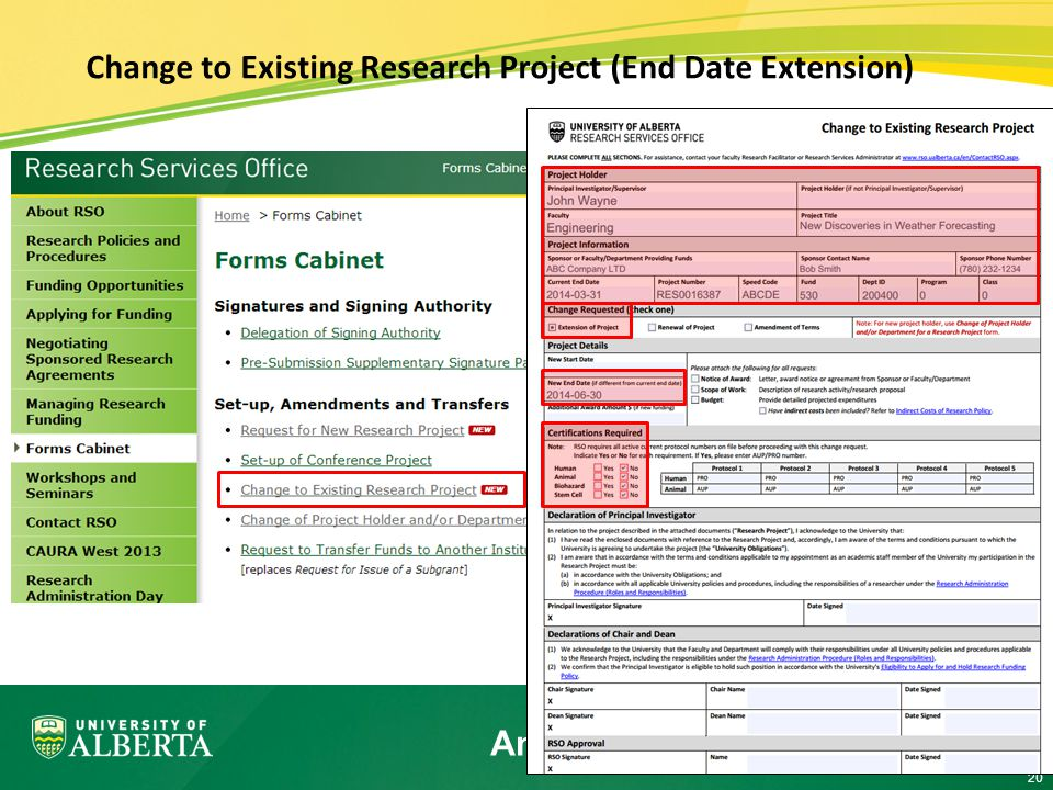 20 Change to Existing Research Project (End Date Extension) Amendment – Current Process