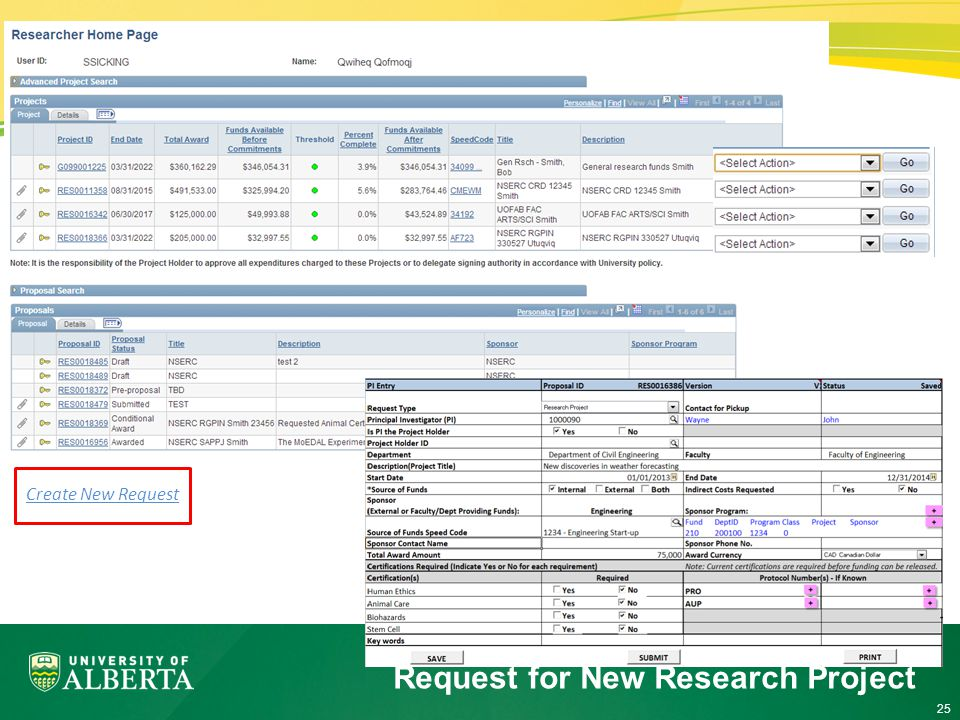 25 Request for New Research Project Create New Request