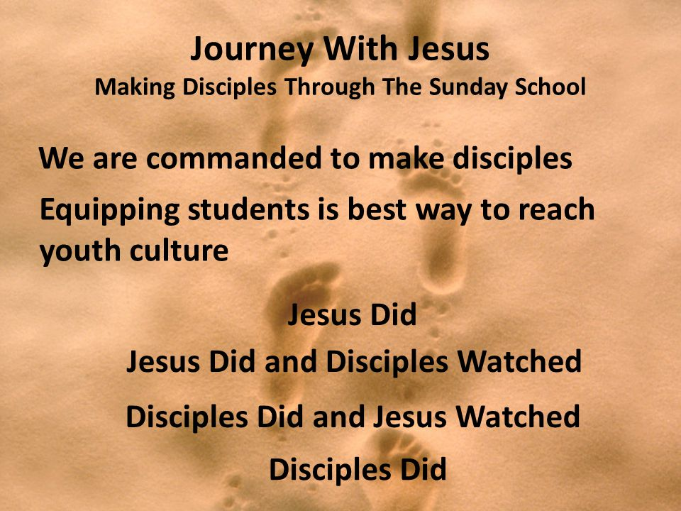 Journey With Jesus Making Disciples Through The Sunday School Jesus Did Jesus Did and Disciples Watched Disciples Did and Jesus Watched Disciples Did