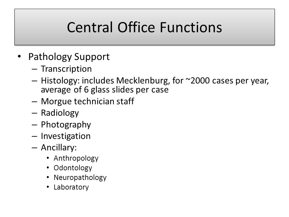 Central Office Functions Pathology Support – Transcription – Histology: includes Mecklenburg, for ~2000 cases per year, average of 6 glass slides per