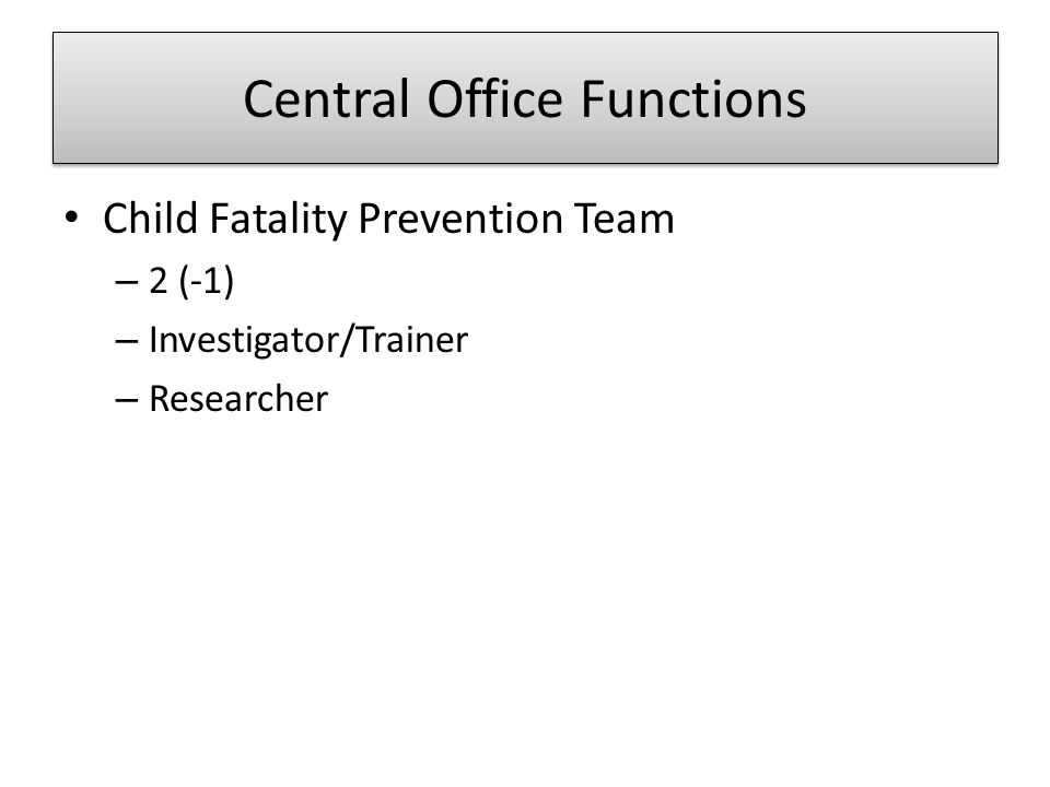 Central Office Functions Child Fatality Prevention Team – 2 (-1) – Investigator/Trainer – Researcher