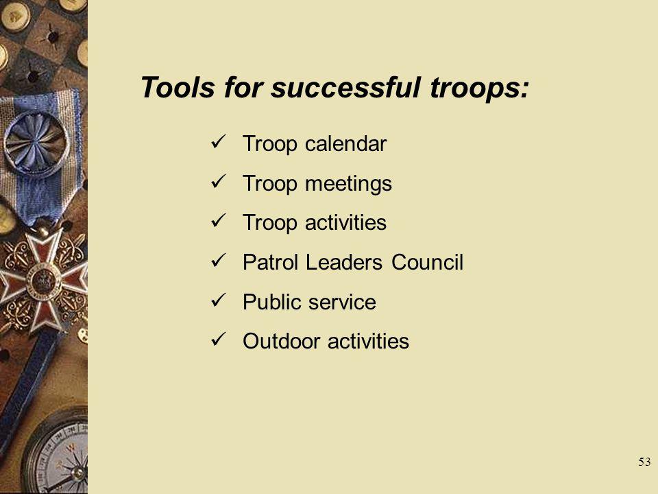 Tools for successful troops: Troop calendar Troop meetings Troop activities Patrol Leaders Council Public service Outdoor activities 53