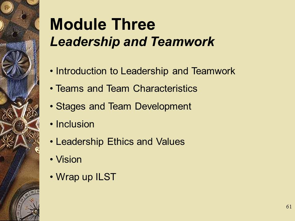Module Three Leadership and Teamwork Introduction to Leadership and Teamwork Teams and Team Characteristics Stages and Team Development Inclusion Lead