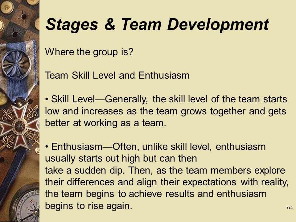 Stages & Team Development Where the group is? Team Skill Level and Enthusiasm Skill LevelGenerally, the skill level of the team starts low and increas