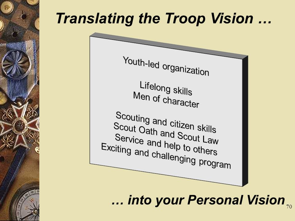 Translating the Troop Vision … … into your Personal Vision 70