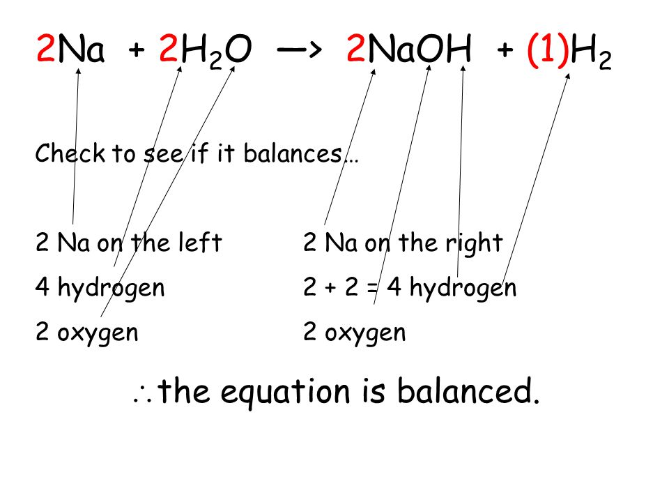 _Na + _H 2 O > 2NaOH + _H 2 Now lets balance sodium; we need a 2 in front of the Na… 2Na + _H 2 O > 2NaOH + _H 2 Now consider hydrogen… 2Na + 2H 2 O >