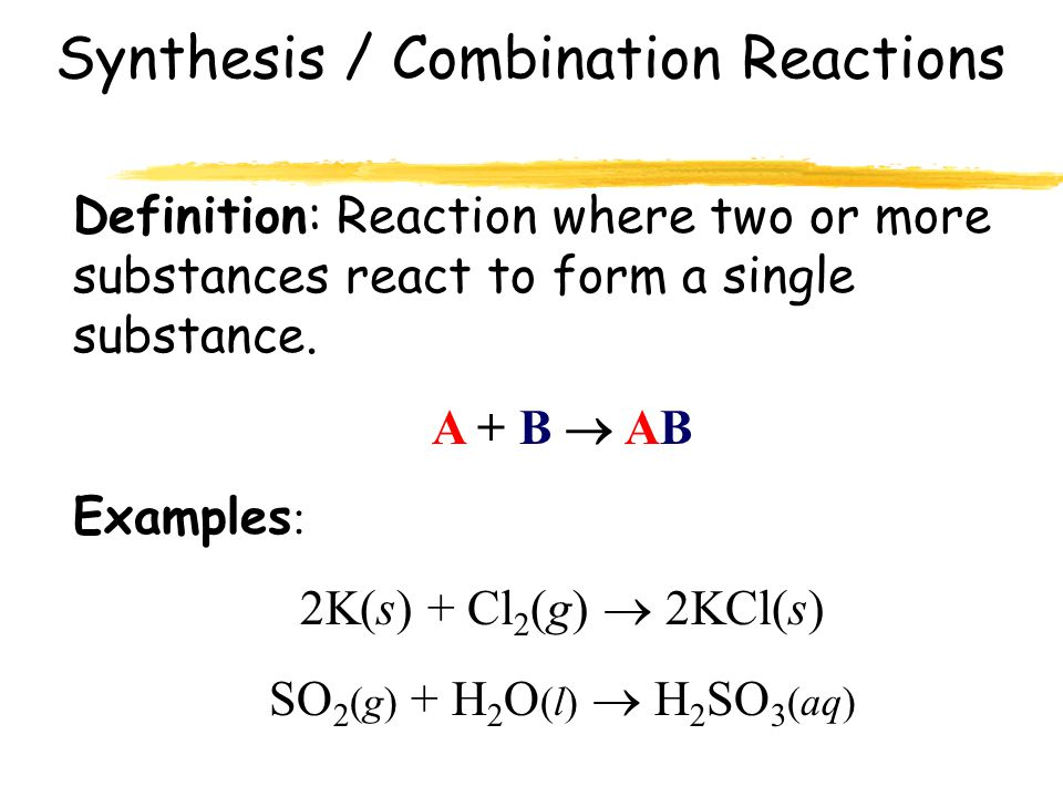 Types of Chemical Reactions Synthesis / Combination Decomposition Single Replacement Double Replacement Combustion