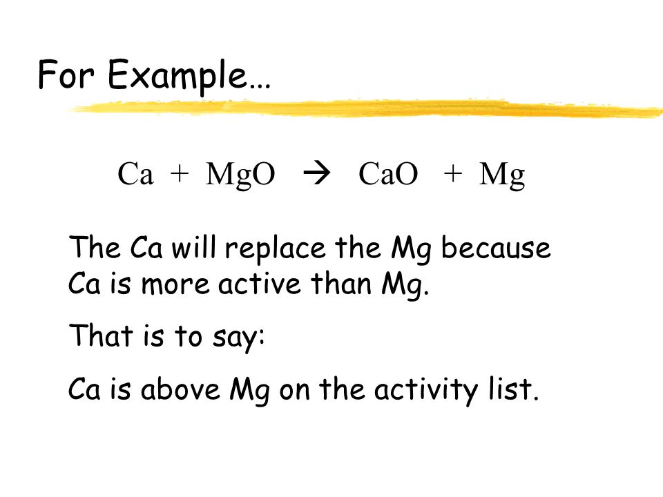 Li K Ca Na Mg Al Zn Fe Pb (H)* Cu Hg Ag Increasing Activity Any element will replace any element below it. Activity Series *Metals from Li to Na will