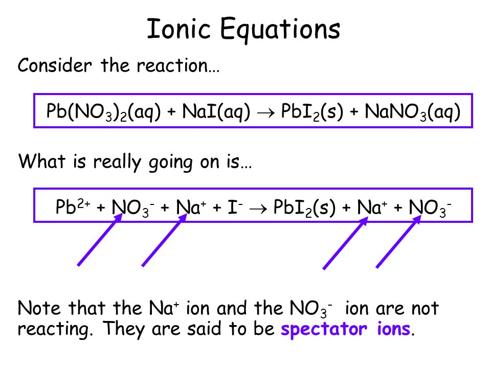 Ionic Equations When a soluble substance is dissolved in water, the substance often breaks into ions. This solution is said to be an aqueous solution.