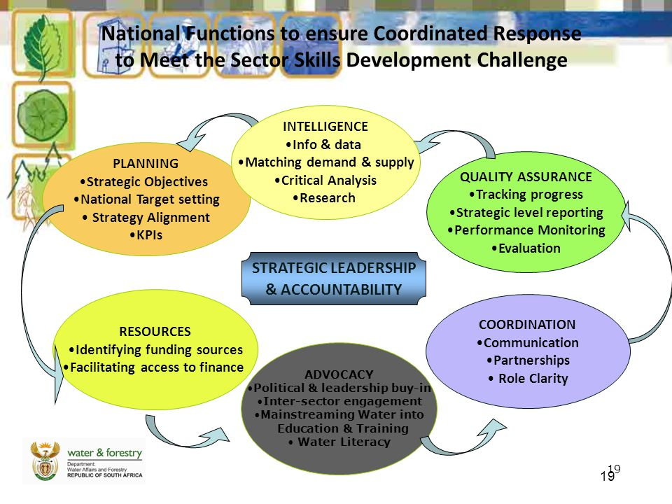 19 National Functions to ensure Coordinated Response to Meet the Sector Skills Development Challenge PLANNING Strategic Objectives National Target set