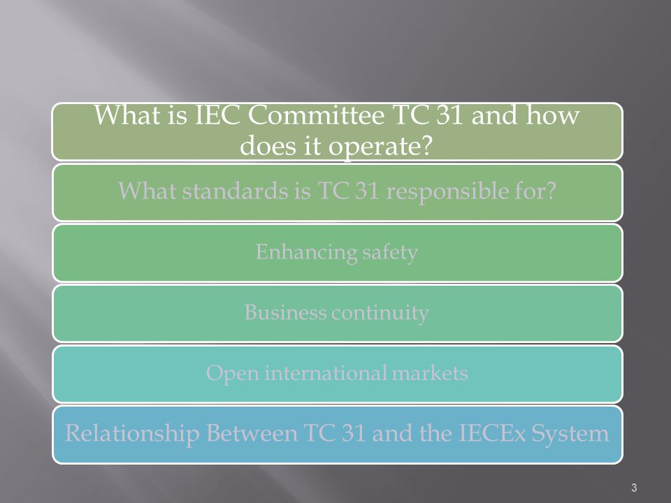 What is IEC Committee TC 31 and how does it operate? What standards is TC 31 responsible for? Enhancing safetyBusiness continuityOpen international ma