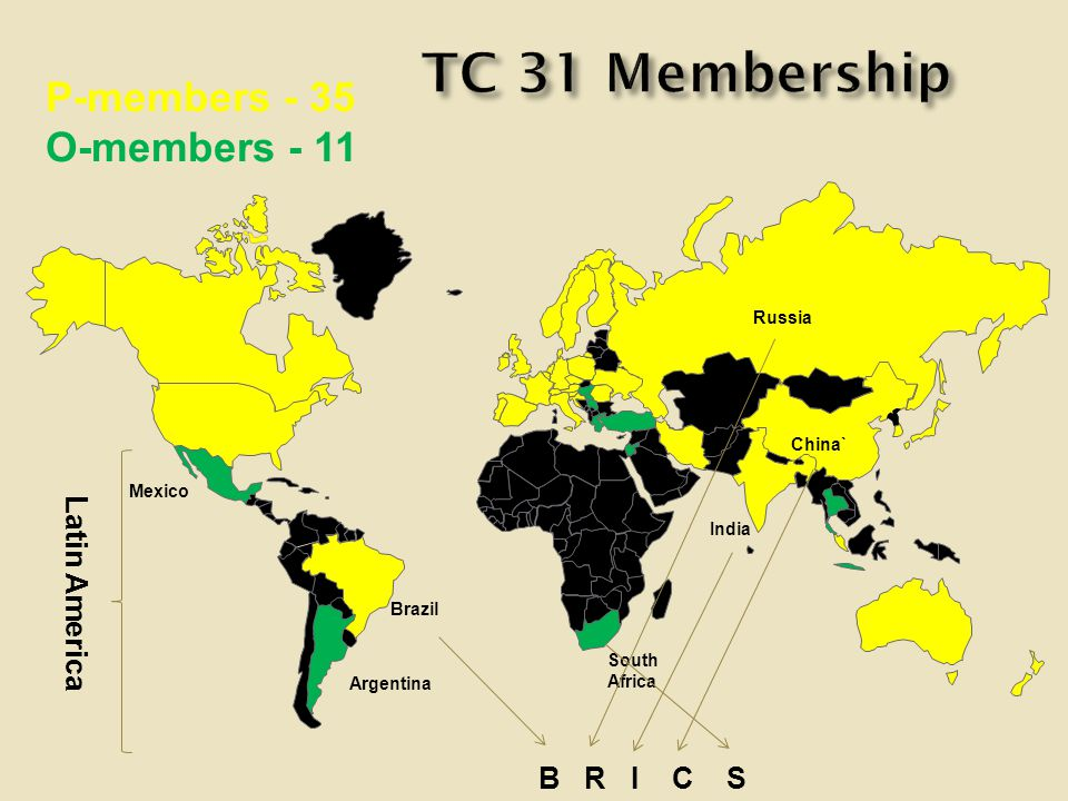 P-members - 35 O-members - 11 Brazil Argentina Mexico Russia India China` South Africa B R I C S Latin America