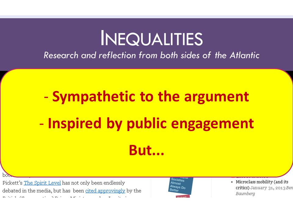 - Sympathetic to the argument - Inspired by public engagement But...