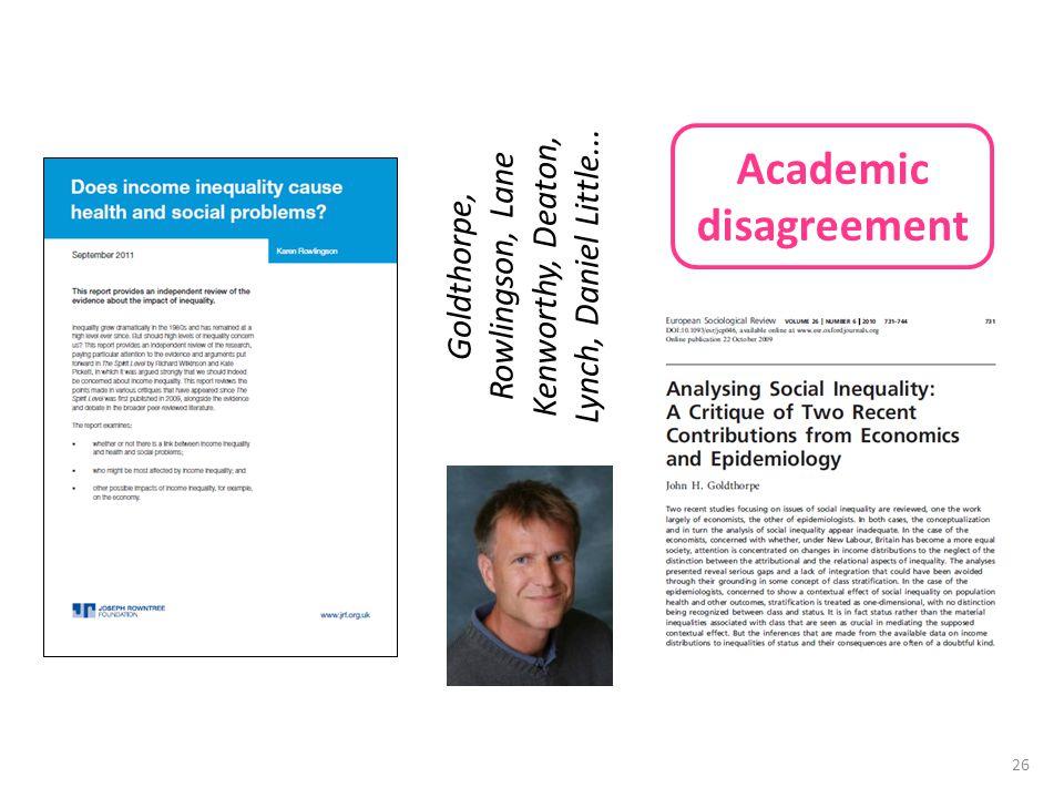 26 Academic disagreement Goldthorpe, Rowlingson, Lane Kenworthy, Deaton, Lynch, Daniel Little...