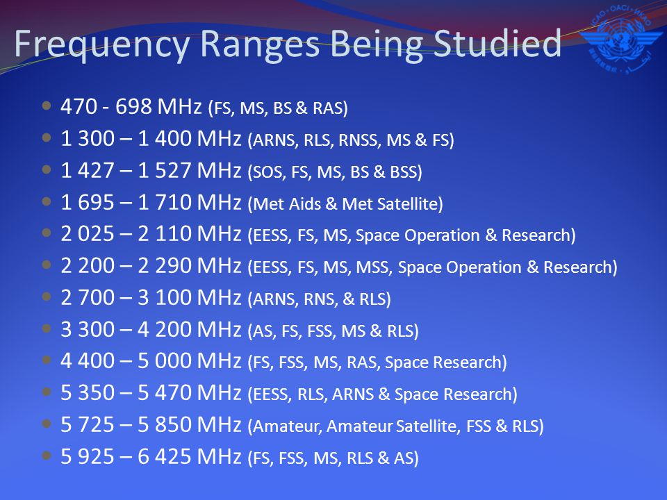 Frequency Ranges Being Studied 470 - 698 MHz ( FS, MS, BS & RAS) 1 300 – 1 400 MHz (ARNS, RLS, RNSS, MS & FS) 1 427 – 1 527 MHz (SOS, FS, MS, BS & BSS) 1 695 – 1 710 MHz (Met Aids & Met Satellite) 2 025 – 2 110 MHz (EESS, FS, MS, Space Operation & Research) 2 200 – 2 290 MHz (EESS, FS, MS, MSS, Space Operation & Research) 2 700 – 3 100 MHz (ARNS, RNS, & RLS) 3 300 – 4 200 MHz (AS, FS, FSS, MS & RLS) 4 400 – 5 000 MHz (FS, FSS, MS, RAS, Space Research) 5 350 – 5 470 MHz (EESS, RLS, ARNS & Space Research) 5 725 – 5 850 MHz (Amateur, Amateur Satellite, FSS & RLS) 5 925 – 6 425 MHz (FS, FSS, MS, RLS & AS)