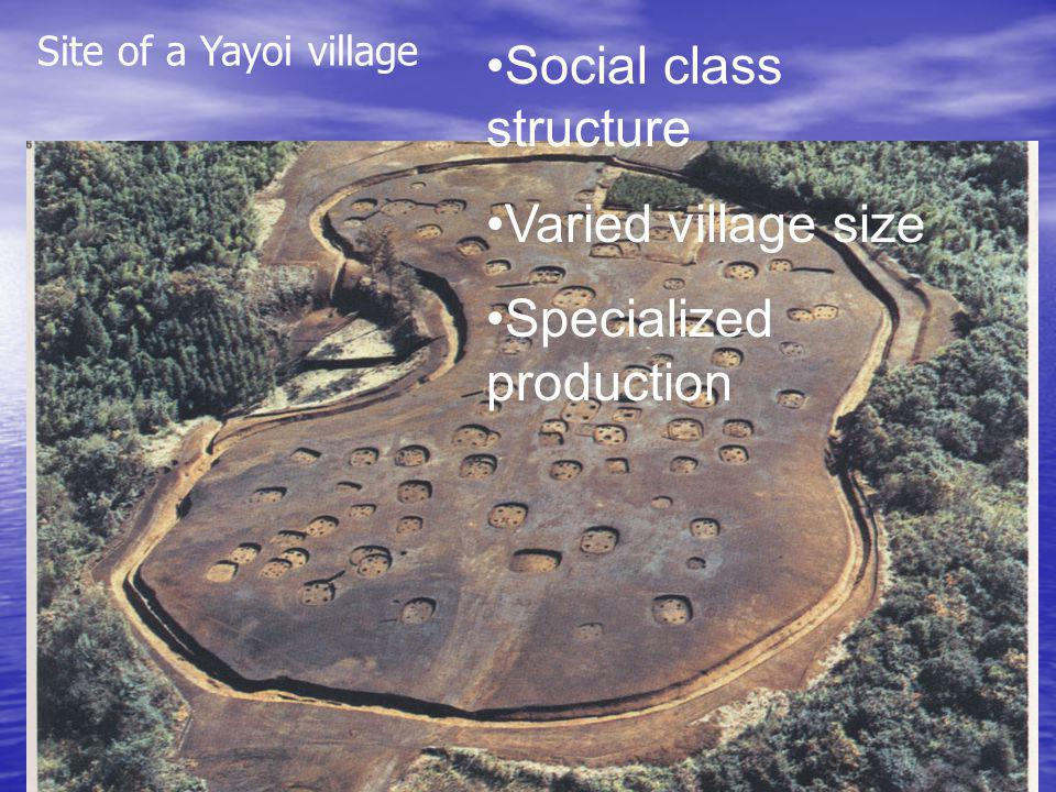 Site of a Yayoi village Social class structure Varied village size Specialized production