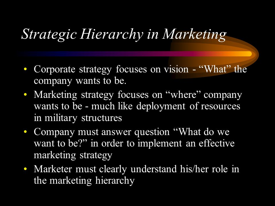 Strategic Hierarchy in Marketing Corporate strategy focuses on vision - What the company wants to be.