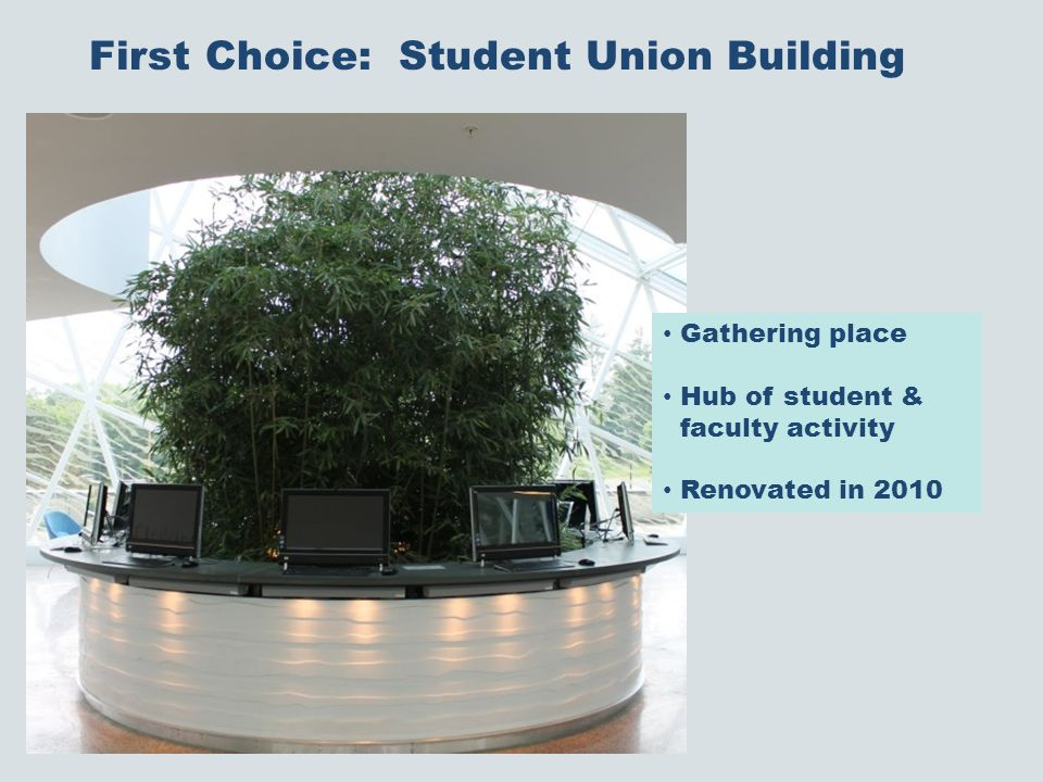 First Choice: Student Union Building Gathering place Hub of student & faculty activity Renovated in 2010