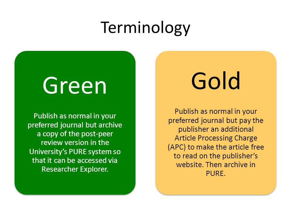 Terminology Green Publish as normal in your preferred journal but archive a copy of the post-peer review version in the Universitys PURE system so that it can be accessed via Researcher Explorer.