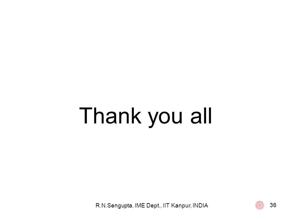 R.N.Sengupta, IME Dept., IIT Kanpur, INDIA 36 Thank you all