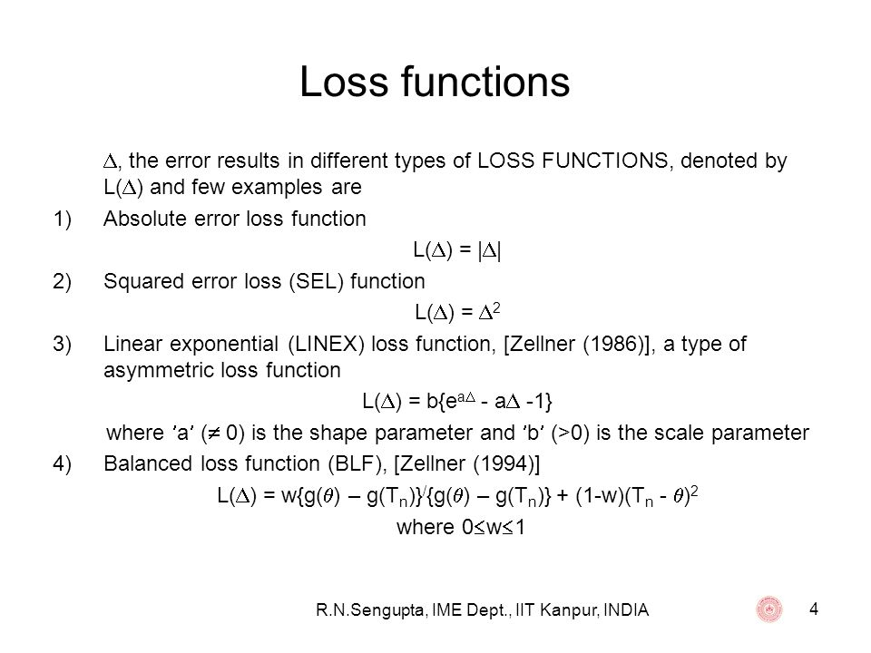 35 List of Publications 5.Use of Asymmetric Loss Functions in Sequential Estimation Problem for the Multiple Linear Regression, JOURNAL OF APPLIED STATISTICS, 2008, 35, 8, 245-261.