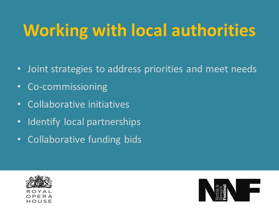 Working with local authorities Joint strategies to address priorities and meet needs Co-commissioning Collaborative initiatives Identify local partnerships Collaborative funding bids