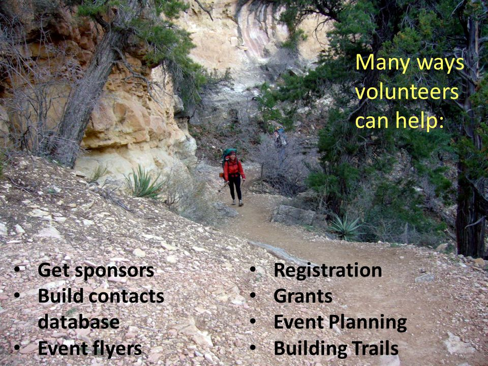 Many ways volunteers can help: Get sponsors Build contacts database Event flyers Registration Grants Event Planning Building Trails
